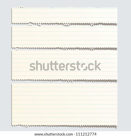 vector perforated striped torn paper layout - stock vector