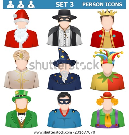 Vector Person Icons Set 3 - stock vector