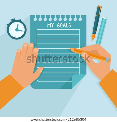 Vector personal goals list in flat style - man writing on the notebook page - stock vector