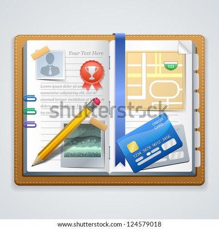Vector personal organizer features - stock vector