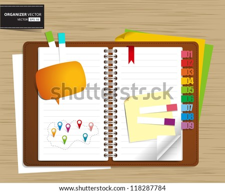 Vector personal organizer features on wood background - stock vector