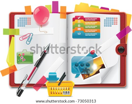Vector personal organizer features - XXL detailed icon - stock vector