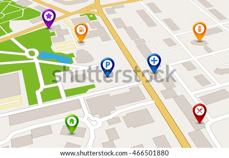 Vector Perspective city map GPS service concept. 3d city way street map design.