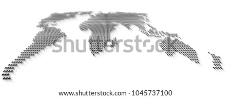 Vector perspective dotted world map gray stock vector 1045737100 vector perspective dotted world map in gray scale gumiabroncs Choice Image