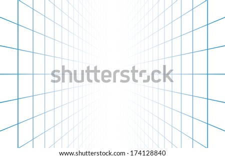 Vector perspective grid background. - stock vector