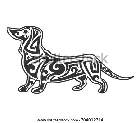 Vector pet Dog  logo, icon, print isolated on white background. Year of dog symbol 2018. Abstract dog silhouette