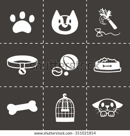 Vector Pet icon set on black background - stock vector