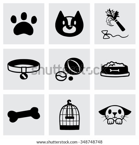 Vector Pet icon set on grey background - stock vector