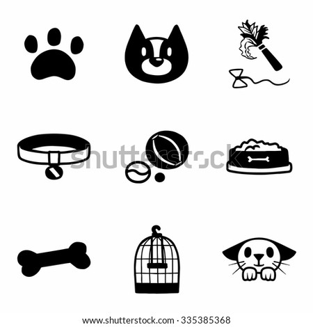 Vector Pet icon set on white background - stock vector