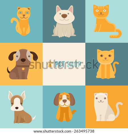 Vector pet shop logo design templates in flat cartoon style - friendly cats and dogs  - stock vector