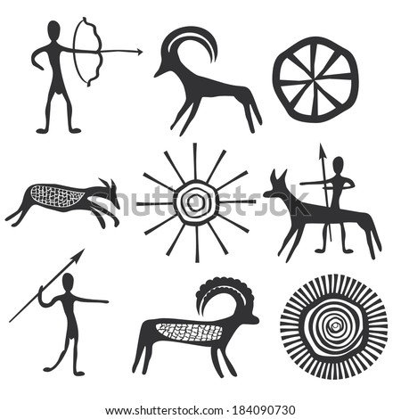 Vector petroglyphs - stock vector