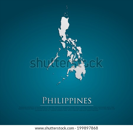 vector Philippines Map card paper on blue background, high detailed