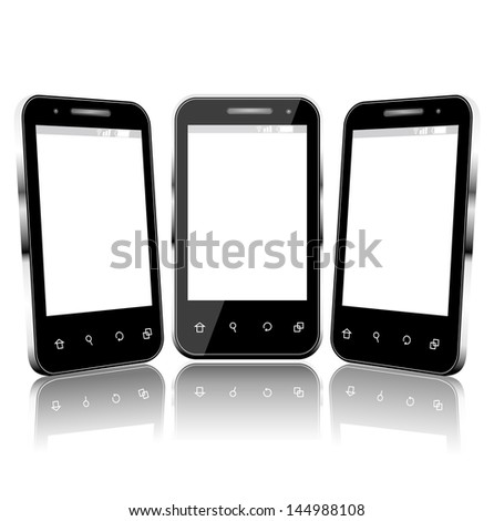 Vector Phone Cell Smart Mobile 3D and 2D - stock vector
