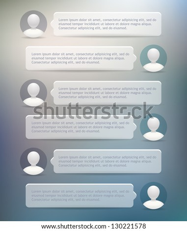 Vector phone chat bubbles with user icons - stock vector