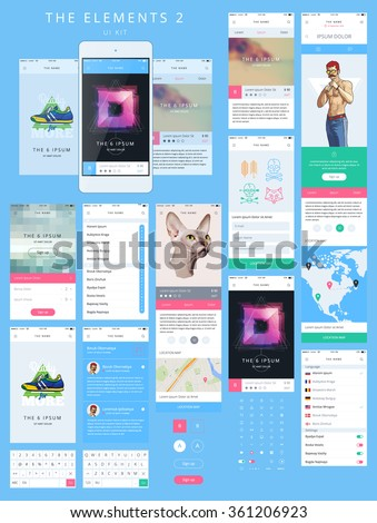 Vector Phone GUI Template. Wireframe UI Kit.