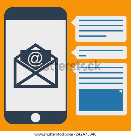 Vector phone messages flat - stock vector