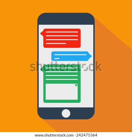 vector phone messages shadow flat - stock vector