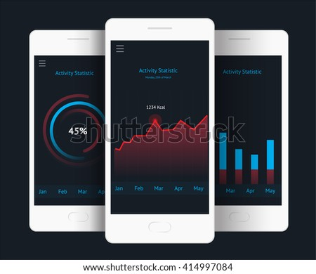 Vector phone with graph, chart, raiting elements. Website element for user interface,  website development and mobile application design in modern fresh design style - stock vector