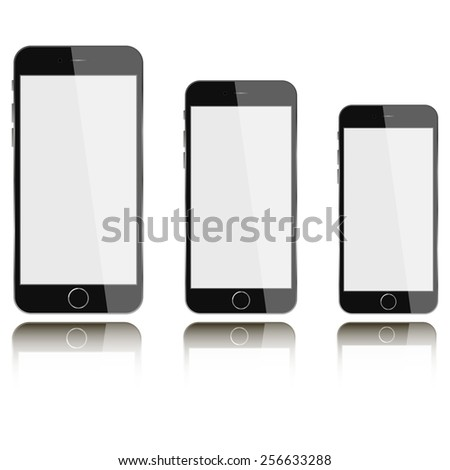 Vector phones with blank screen isolated on white background with reflection. Mock-up - stock vector