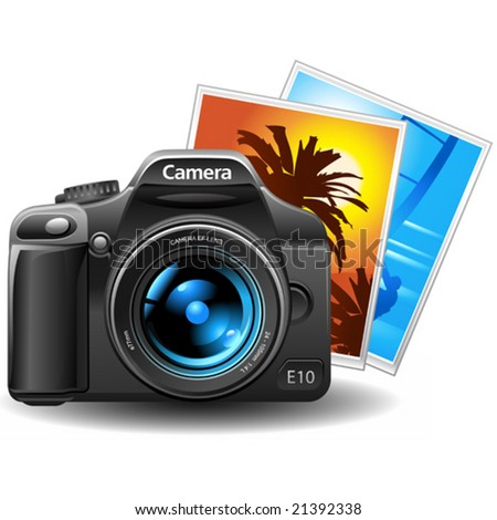 vector photo camera with pictures - stock vector