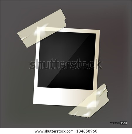 Vector photo frame on grey background. - stock vector