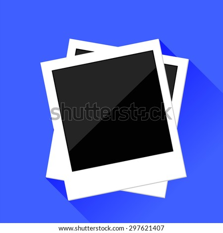 Vector Photo Frames Isolated on Blue Background. Long Shadow.