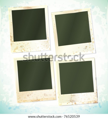 vector photo frames set of four cards - stock vector