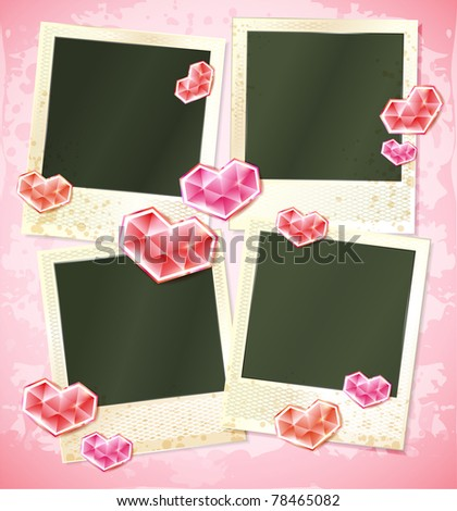 vector photo frames set of four cards with crysal hearts