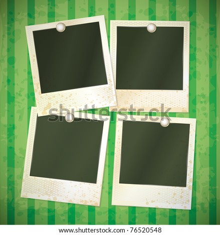 vector photo frames set on the green background - stock vector