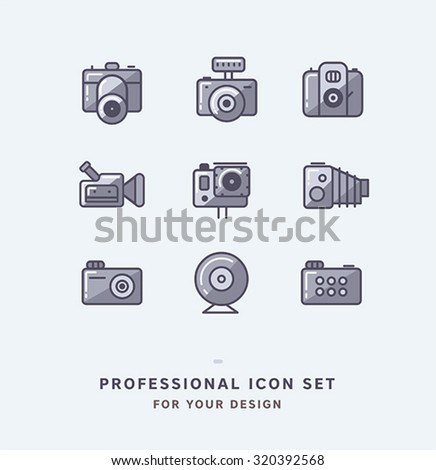 Vector photo icons set. Camera icons collection.
