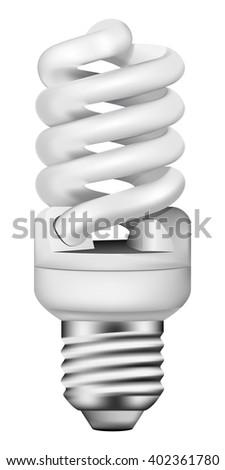 Vector photo-realistic energy saving bulb - stock vector
