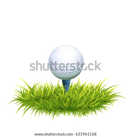Vector Photo Realistic Illustration Of White Golf Ball And Tee In The Green Grass. Close Up View.
