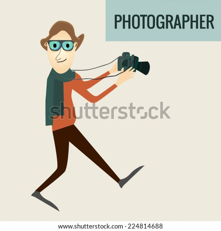 Vector Photographer in a hurry flat style  - stock vector