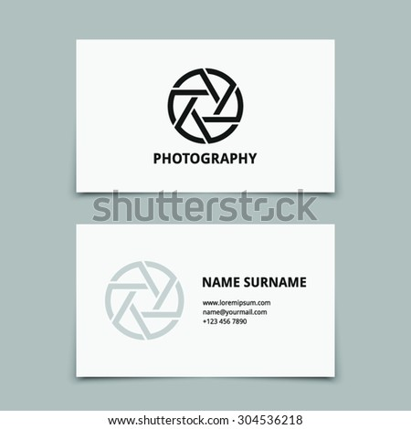 Vector photographer, photography business card template with hipster style design logo. Logotype, brand, branding, corporate, identity, company. Vector eps 10 - stock vector