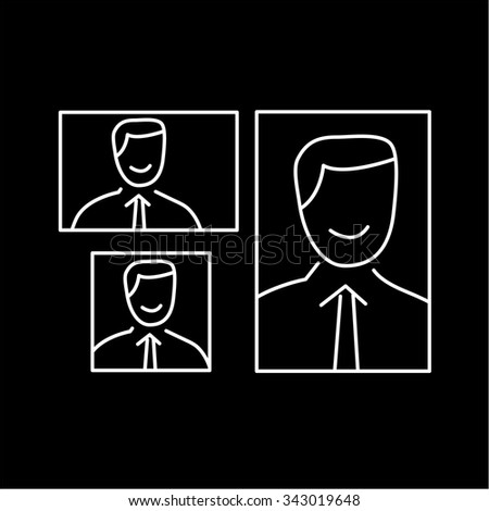 vector photography portrait canvas cropping formats linear icon and infographic | illustrations of gear and equipment for professional photographers and amateurs white isolated on black background - stock vector