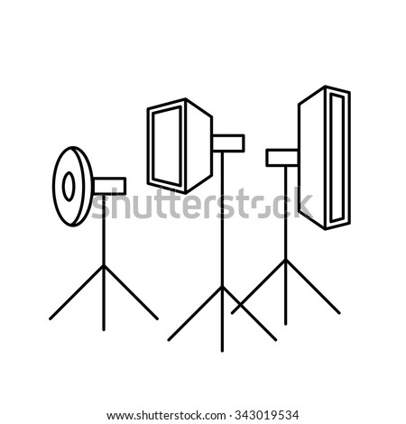vector photography studio lighting equipment linear icon and infographic | illustrations of gear and equipment for professional photographers and amateurs black isolated on white background - stock vector