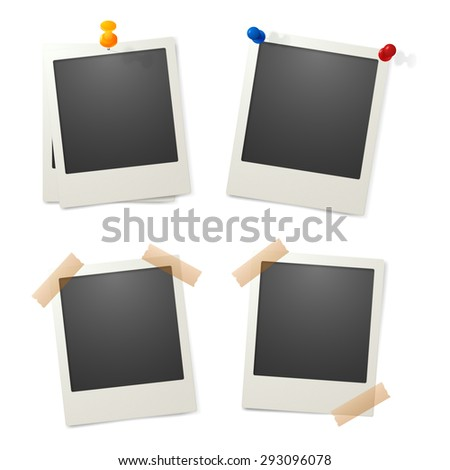 Vector photos pinned to the wall. Eps10. - stock vector