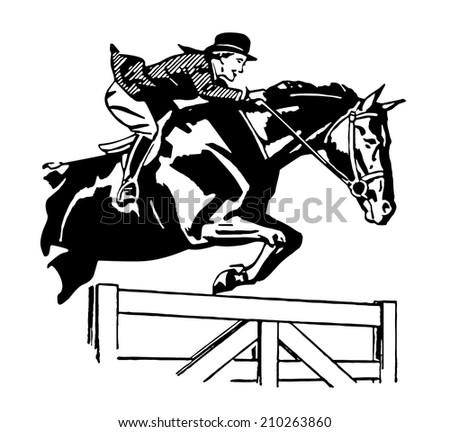 Vector pic: men riding horse - stock vector