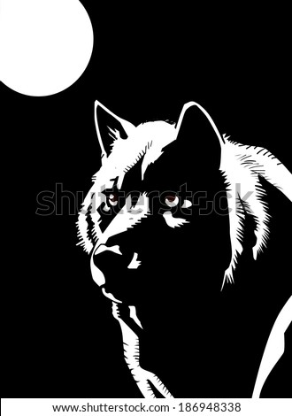 vector pic wolf in the moonlight - stock vector