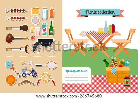 Vector picnic elements collection. Meat and food, hot steak, barbeque and grill - stock vector