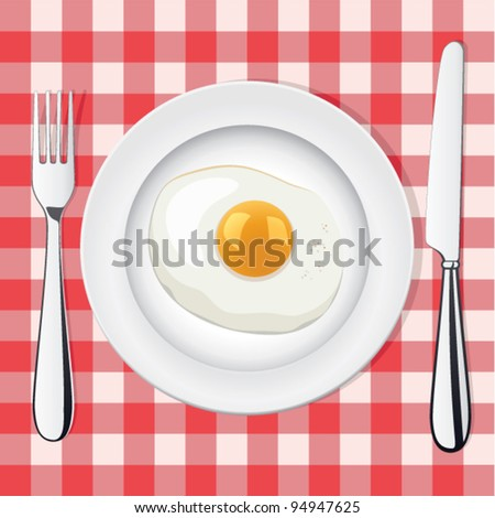 vector picnic illustration of fried egg on a plate with fork and knife - stock vector