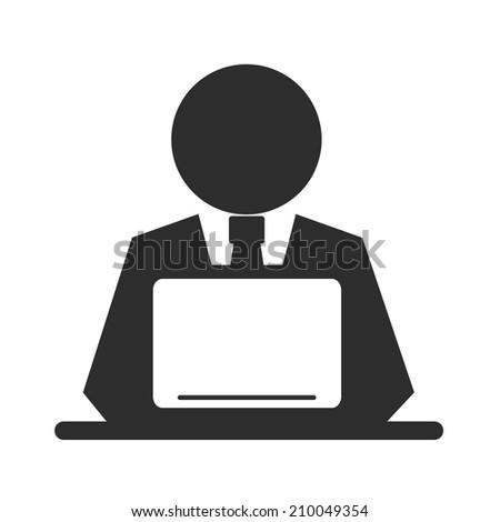 Vector Pictogram Businessman Working on Computer - stock vector