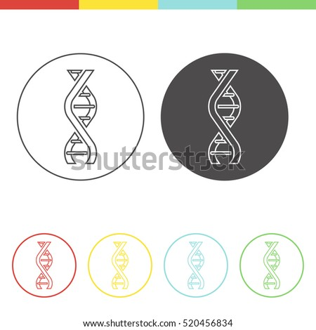 Vector pictograms of DNA molecule. Set of medical icons in thin line style