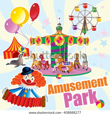 Vector picture an amusement Park with a carousel, Ferris wheel and a clown