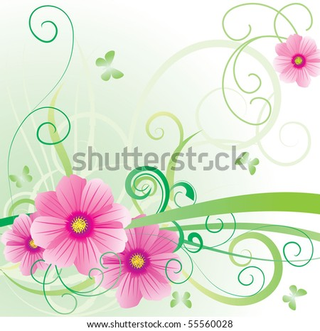 vector picture cosmea banner pretty pink - stock vector