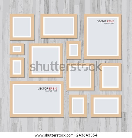 Vector picture frame on vintage wooden wall. Background for photo art gallery. - stock vector