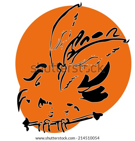Vector picture of bird parrot at the roost - stock vector