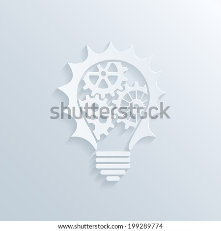 vector picture of paper lightbulb with gears and cogs inside, creativity teamwork and business concept - stock vector