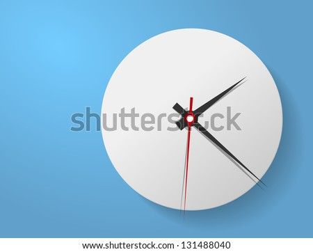 Vector picture of round analog clock face, watch.Conception of punctuality Precise time-keeping and measurement of time. Timepiece with arrows for hour, minutes and seconds on blue background. - stock vector