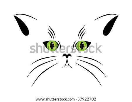 Vector picture of silhouette of a cat with green eyes - stock vector